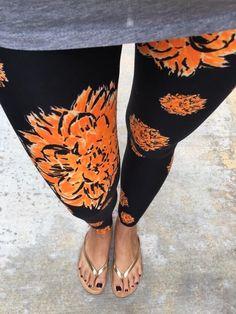LuLaRoe Leggings! *UNICORN* Black With Orange Flowers Floral! NEW - ONE SIZE #lularoe