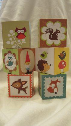 Woodland Creature Owl Hedgehog Gnome Wood Blocks  Nursery Room Decor Baby Shower Decoration Birthday Party Toddler Building Toys