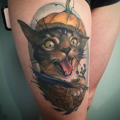 Healed Cat & Pumpkin tattoo by @cbernhardt_rclmr at Reclamare Gallery & Custom Tattoo in Sacramento CA #cbernhardtrcmlr #cbernhardt #coreybernhardt #rcmlr #reclamaregalleryandcustomtattoo #sacramento #california #pumpkintattoo #cattattoo #catattoo #halloweentattoo #tattoo #healedtattoo #tattoos #tattoosnob