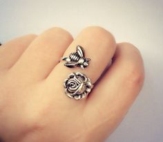 Cute ring ://www.etsy.com/listing/173917141/silver-bee-and-rose-ring-silver-flower