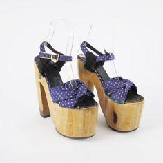 f2d8157fa Vintage 1970s Wood Platform Heels Mega Tall High Heels Glam Rock Disco  Platforms Pinup Ankle Strap Platform Sandals Size 6