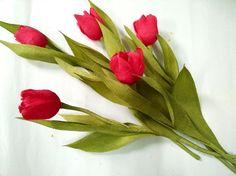 D.I.Y - How to make a paper flower - tulip Part 1 - Làm hoa tulip bằng g...