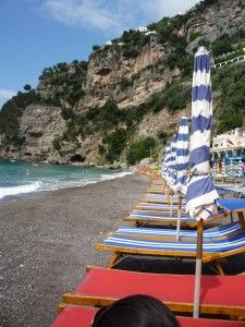 Fornillo Beach in Positano is smaller than the main beach but it's less crowded.