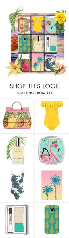 Tropical Island by ladygroovenyc on Polyvore featuring Dolce&Gabbana, Samsung, Clinique, tropical and Collage