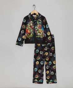 Take a look at this Black 'Turtle Trouble' TMNT Pajama Set - Boys on zulily today!