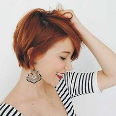 40 Amazing Short Pixie Hairstyles & Haircuts - Short Haircut Z Short Hairstyles For Thick Hair, Short Pixie Haircuts, Curly Hair Styles, Shaggy Pixie, Short Red Hair, Short Copper Hair, Cute Short Hair, Short Fine Hair, Brown Pixie Hair