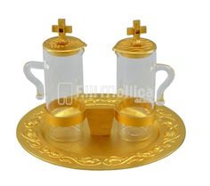 Cruets Set for Mass with Lilies