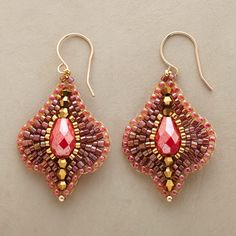 """SABINA EARRINGS--Sun-soaked color and glints of gold shine forth from handcrafted earrings combining 14kt gold-filled beads, Japanese Miyuki beads and faceted raspberry quartz. 14kt goldfill wires. Handcrafted in USA by Miguel Ases. 1-7/8""""L."""
