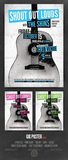 Gig Poster Template This poster template was designed with an indie rock style event in mind. It could be used as a gig poster or club poster. The PSD file is easily edited via text layers and vector shape PSD Files Print Ready 300 DPI CMYK Gig Poster, Club Poster, Music Flyer, Concert Flyer, Festival Posters, Concert Posters, Music Room Organization, Music Tattoo Designs, Grunge