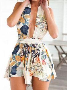 Multi Deep V Leaf Print Twist Strap Backless Romper Playsuit - Choies.com #romper #covetme