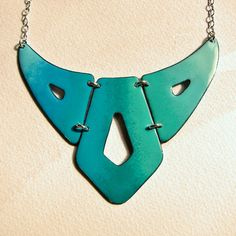 Bib necklace statement jewelry turquoise ombre by OxArtJewelry