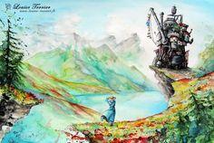 Des-aquarelles-inspirees-du-studio-Ghibli-par-Louise-Terrier-5