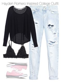 """""""Hayden Romero Inspired College Outfit"""" by staystronng ❤ liked on Polyvore featuring One Teaspoon, Victoria's Secret, Converse, Monki, college, tw and HaydenRomero"""