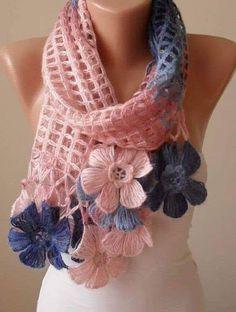 Crochet Flower Scarf, Crochet Flower Patterns, Crochet Scarves, Crochet Clothes, Crochet Flowers, Scarf Knit, Baby Cardigan Knitting Pattern, Baby Hats Knitting, Knitting Patterns Free