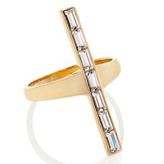 Sharon Osbourne Jewelry Collection Crystal Baguette North/South Cross Ring at HSN.com.