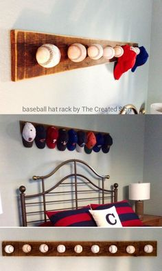 baseball-hat-rack-using-game-balls-by-the-created-sign-featured-on-remodelaholic #Hats