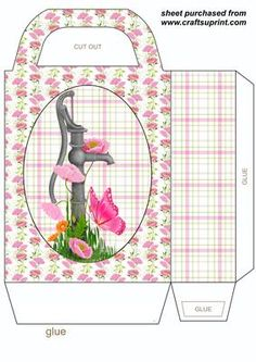 Pink poppy water pump gift bag on Craftsuprint designed by Stephen Poore -