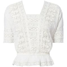 LOVESHACKFANCY Women's Jane Lace Crop Top (2560 MAD) ❤ liked on Polyvore featuring tops, white, lace peplum top, cut-out crop tops, short sleeve lace top, short sleeve peplum top and v-neck tops