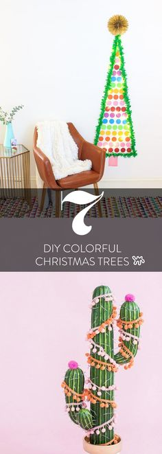 """If you like pink and yellow over red and green, then traditional Christmas trees might not be your cup of tea. These DIY colorful, modern, and non-traditional trees are the perfect thing to add to your """"unorthodox"""" bright (and even summer-y) decor!"""