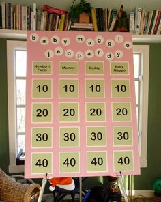 Baby Jeopardy! Fun idea for a shower!
