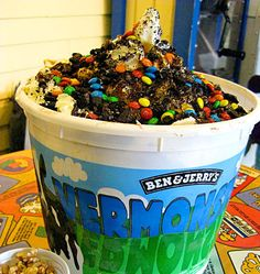 Vermonster  Ingredients: 20 scoops of ice cream, hot fudge, banana, cookies, brownies, and other toppings of your choice    Fat content: 20 scoops of ice cream will clock in between 120 to 400 grams of fat, depending on which flavors you pick.