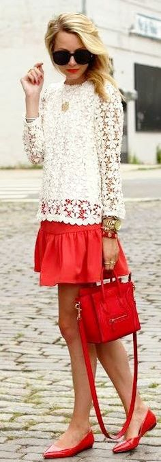 Love this white floral lace pullover, perfect addition to a spring wardrobe! :: Red and white:: Red skirt, white lace sweater:: Vintage Fashion:: Retro Style