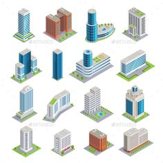 Buy Buildings Isometric Set by macrovector on GraphicRiver. Set of isometric buildings including modern skyscrapers from glass and concrete and multistory houses isolated vector. Minecraft Mods, Easy Minecraft Houses, Minecraft Designs, Minecraft Projects, Minecraft Plans, Minecraft Skyscraper, Minecraft Modern City, Minecraft City Buildings, 3d Building Models