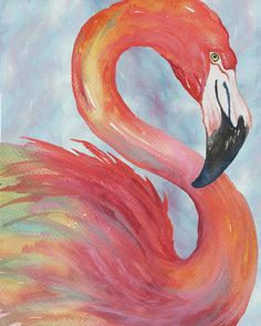 Tropical Flamingo Art Print by Elizabeth Medley. All prints are professionally printed, packaged, and shipped within 3 - 4 business days. Choose from multiple sizes and hundreds of frame and mat options. Flamingo Painting, Flamingo Art, Oil Pastel Art, Tropical Art, Tropical Paintings, Coastal Art, Animal Paintings, Bird Art, Painting & Drawing