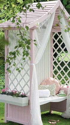 Country cottage decor ideas for outdoor- Garden sitting areas. Miss Layla would love this next to her play house. Outdoor Rooms, Outdoor Gardens, Outdoor Living, Outdoor Decor, Outdoor Seating, Modern Gardens, Small Gardens, Pink Garden, Dream Garden