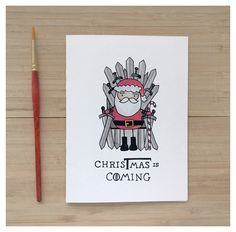 CHRISTMAS IS COMING // game of thrones, got, game of thrones christmas card, christmas pun, fandom card, iron throne, winter is coming, pun by kenziecardco on Etsy https://www.etsy.com/listing/485107293/christmas-is-coming-game-of-thrones-got