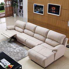 Угловой диван с выдвижным механизмом в белой натуральной коже