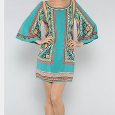 NWT Tunic. For most occasions. HP 6/6🎉🎉2x HP🎉🎉 Tribal looking or vaca.  Sm, med or large available . Runs true to size. Very well made. 100% rayon. hard to tell but true to size is fitted and hugs the body nicely. Otherwise go up a size if you want it loose.  All new in original bag. . Back zipper. No negotiation but will bundle. Or free gift with purchase. Wear at a resort, warm weather vacations après beach or pool. Must see IRL!!!♨👌bundle for a lower price. ! Separate listing. ! 2x…