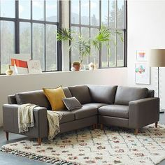 York 3-Piece  Leather Sectional #westelm $3500