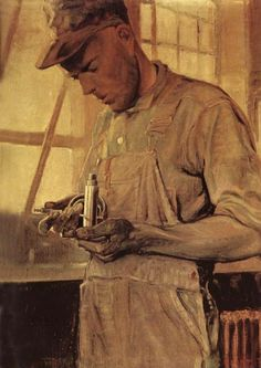 1925 Grant Wood (American regionalist artist, 1891-1942) Product Checker (working with metals)