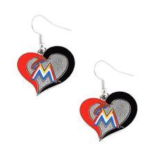 Florida Marlins Women's Swirl Heart Earrings