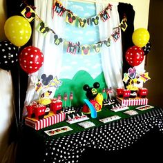 Adorable party set up / decorations at a Mickey Mouse Clubhouse Party via Kara's Party Ideas Kara'sPartyIdeas.com