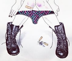 A naughty little something #drawing #bruises #combatboots #harumihironaka