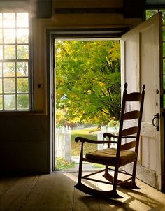 Love the chair with the open door.