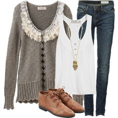 I like this--especially the sweater as a contrast to the other pieces