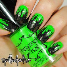 Neon Green Nail Polish UV Reactive ($8) ❤ liked on Polyvore featuring beauty products, nail care and nail polish