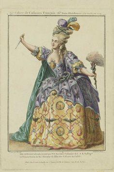 """1799 - Gallerie des Modes et Costumes Français. """"Habit de Divinité infernale..."""" - crazy bat gown! paint/stencil fabric? soft-sculpture snakes?"""