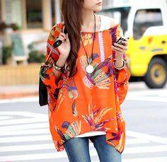 Women's Chiffon Tunic with Tropical Print