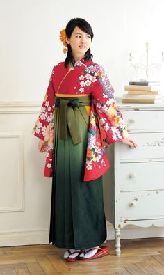 Hakama. Hakama is a divided or pleated skirt worn over a Kimono.  A Japanese girl student wore a hakama approximately 100 years ago.  Today, the girl student puts hakama on only in graduation party.