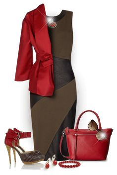 """""""Brown With Red"""" by truthjc ❤ liked on Polyvore featuring Kate Spade, Bling Jewelry, Bulgari and Isa Arfen"""
