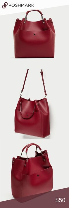 ZARA Red Tote Bag With Top Metal Handles Red tote bag with top handle in a combination of materials, adjustable and detachable shoulder strap, magnetic clasp closure Zara Bags Totes