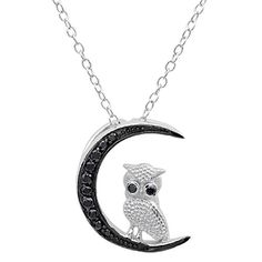 Sterling Silver Cubic Zirconia Owl & Moon Pendant Necklace Jewelry