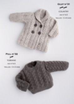 Fiche de tricot modèle gilet et pull bébé 0-6 ans avec explications