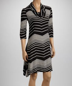 Another great find on #zulily! Black Wave Cowl Neck Dress by Reborn Collection #zulilyfinds