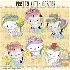 Pretty Kitty Easter 1 - Clip Art by Cheryl Seslar
