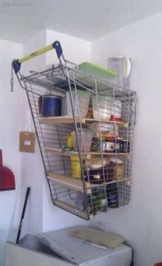 Even though possessing a shopping cart without a receipt of sale is illegal, redneck logic tells them to use it to build shelves for the garage. Don't worry, the wheels did not go to waste! Redneck Humor, Redneck Gifts, Diy Regal, Rednecks, Garage Storage, Pantry Storage, Diy On A Budget, Lifehacks, Interior Design Kitchen